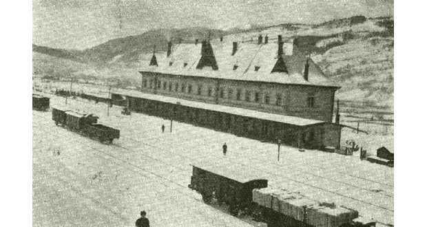 Körösmező vasútállomása az első világháború idején (Fotó: www.keptar.oszk.hu)
