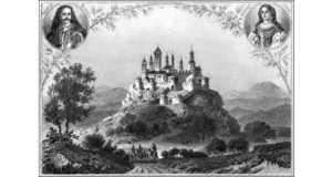 A munkácsi vár egy XIX. századi metszeten, felül II. Rákóczi Ferenc és Zrínyi Ilona portréja. (Fotó: www.turul.info)